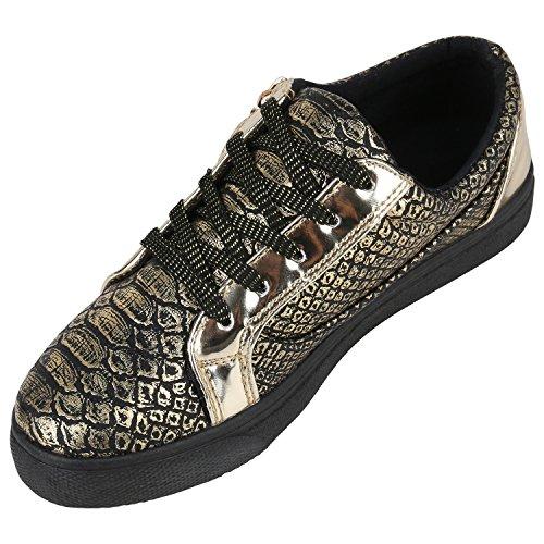 109ff52a11a7ab Damen Sneaker Low Basic Sneakers Lack Metallic Turnschuhe Glitzer Schuhe  Snake Sportschuhe Leder-Optik Denim ...