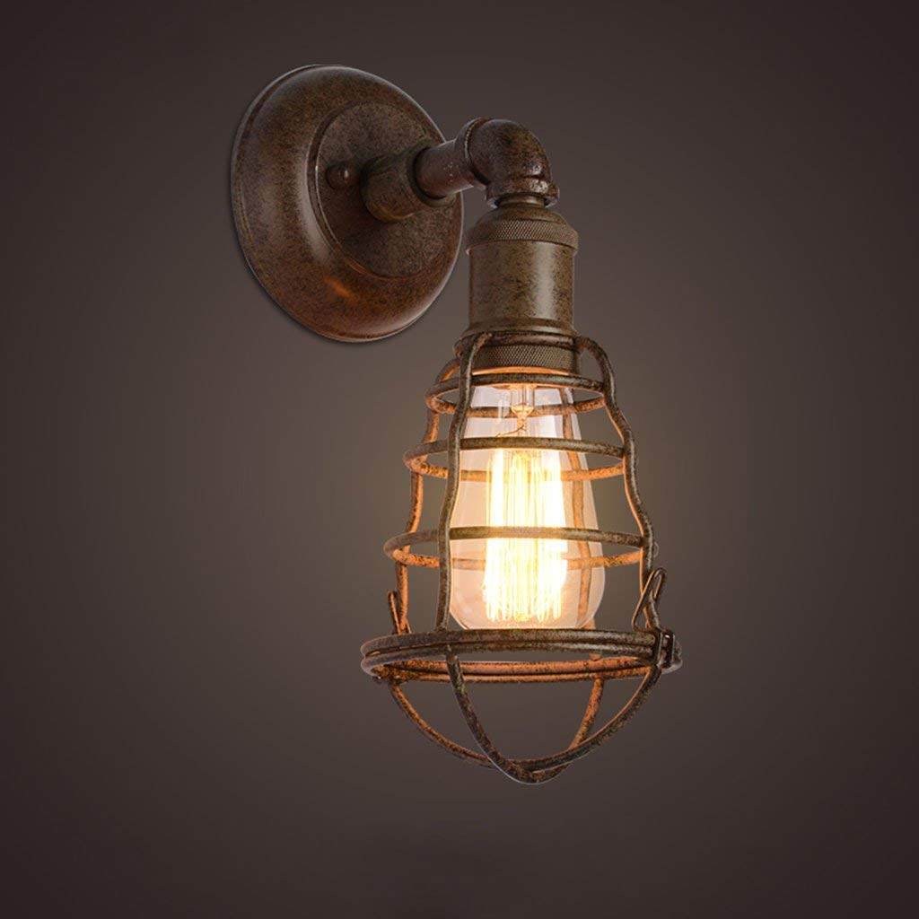 Ferro da stiro Lampada da parete, Retro Loft Decorazione lampada da parete di Internet Cafe Cafe corridoio magazzino corridoio Lampada da parete a testa singola E27 lampade di illuminazione,