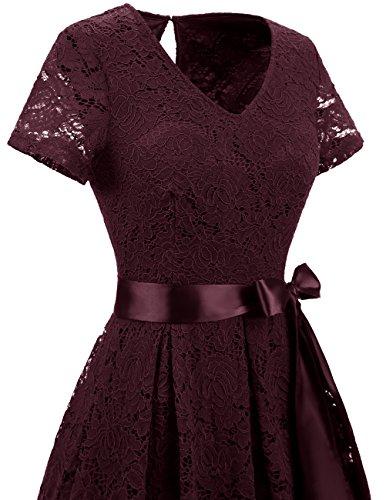 Manica Dresstells Pizzo Burgundy Vestito Vestiti Donna Vintage Cerimonia Corta Casual vgpBvY