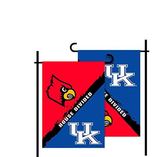 BSI NCAA Sports Fan Team Logo Design Decorative Home Outdoor Office Kentucky Louisville 2-Sided Garden Flag Rivalry House Divided ()
