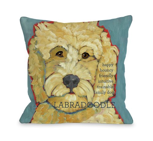 One Bella Casa Labradoodle 1 Throw Pillow, 16 by 16-Inch from One Bella Casa
