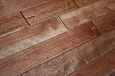 "Elk Mountain Maple Prairie Brown SOLID 3/4"" x 4-3/4"" Distressed Hardwood Flooring AH246 SAMPLE"