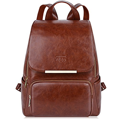 (COOFIT PU Leather Backpack School Backpack Casual Daypack with Pouch for Women Brown)