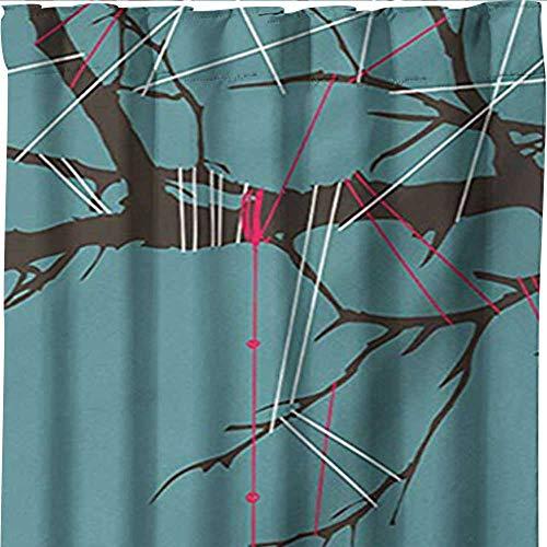shenglv Lantern, Curtains Blackout 2 Panels, Three Paper Lanterns Hanging on Branches Lighting Fixture Source Lamp Boho, Curtains Kitchen, W96 x L108 Inch, Teal Pale Yellow by shenglv (Image #1)