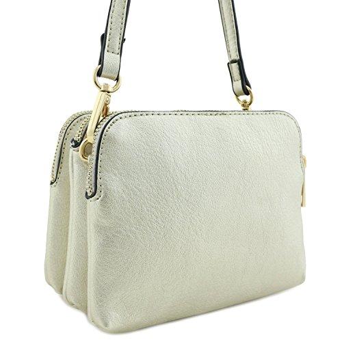 Mini Triple Light Compartment Crossbody Tassel Gold Bag with YwYq5