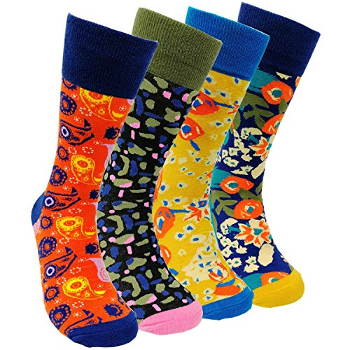 Mens Colorful Dress Socks Funky - HSELL Men Multicolored Pattern Fashionable Fun Crew Cotton Socks (Paramecium - 4 Pairs) ()