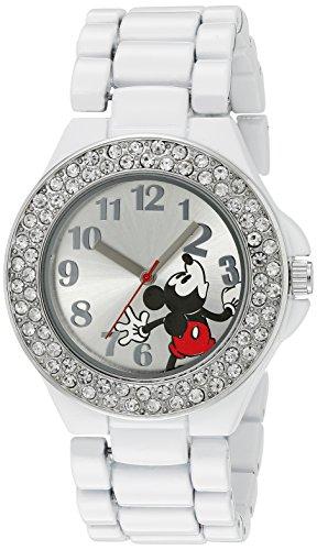 Disney Women's MK2072 Mickey Mouse Silver Dial White Enamel Bracelet Watch ()