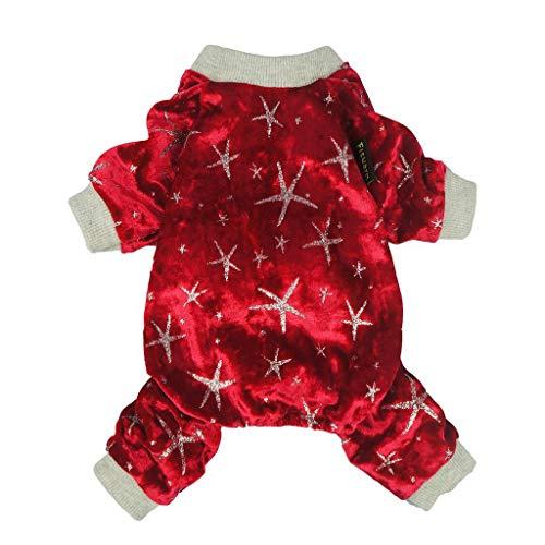 Fitwarm Christmas Shining Star Pet Clothes Dog Pajamas Cat Jumpsuit PJS Apparel Red Medium