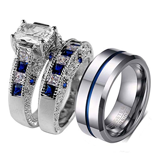 LOVERSRING 3pc Two Rings His and Hers Couple Rings Bridal Sets His Hers Women White Gold Filled Heart Cz Man Tungsten Carbide Wedding Ring Band Set
