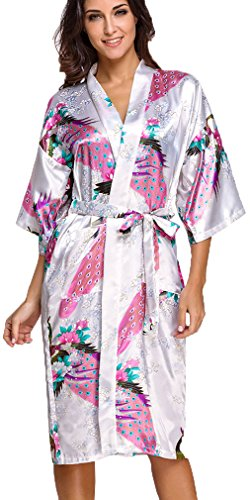 FLYCHEN Mujer Vestido Kimono Floral Satén Largo Pijamas Blanco
