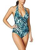 Calvin Klein Women's Mediterranean Print Halter One-Piece Swimsuit (6, Mediterranean)