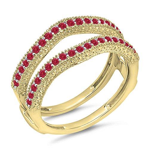 Dazzlingrock Collection 0.45 Carat (ctw) 14k Yellow Gold Red Ruby Diamond Wedding Millgrain Guard Ring 1/2 CT (Size 7.5) -
