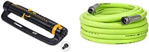 Melnor 65078-AMZ XT Turbo Oscillating Sprinkler with 3-Way Adjustment and QuickConnect Product Adapter Set, Amazon Bundle & Flexzilla Garden Hose, 5/8 in. x 50 ft, Lightweight, Drinking Water Safe