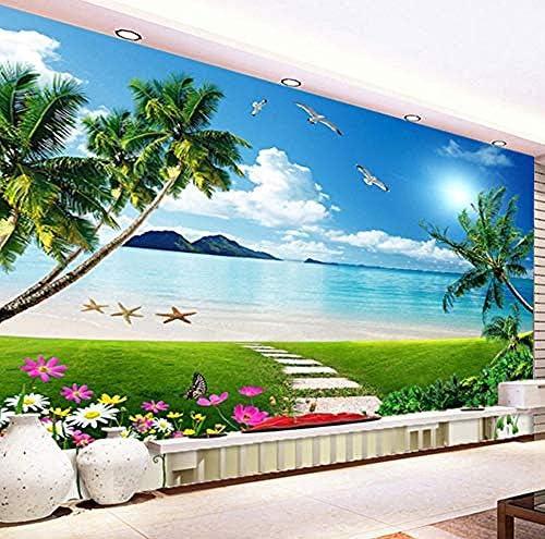 カスタム3Dステレオ壁画壁紙美しい海辺の風景ビーチサンシャイン壁紙リビングルームのソファの背景壁画-200X140Cm