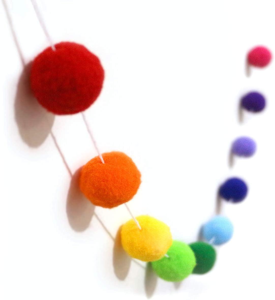 Bining Felt Ball 30mm 30 Balls Christmas Tassel Garland Pom Pom Ball String Ba 78in(2M) (Colorful Felt Ball 30pcs)