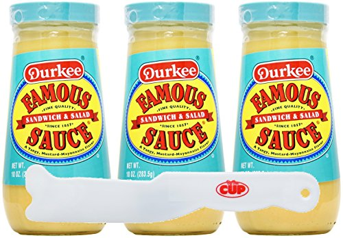 Durkee Famous Sandwich & Salad Sauce - 10 oz Pack of 3 - With Exclusive By The Cup Spreader -