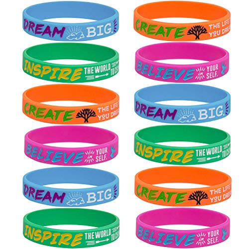 (Sainstone 12-Pack Silicone Motivational Wristbands - Dream Inspire Create Believe -Wholesale Inspirational Quote Bracelets for Kids Boys Girls Birthday Dance Party Favors Cheer Gifts Multicolor (7.5