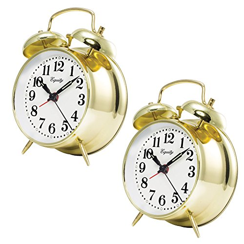 Johnson Smith Co. (Set of Two) Keywind Bell Alarm Clocks - Runs Up to 30 Hours On A Full Wind ()