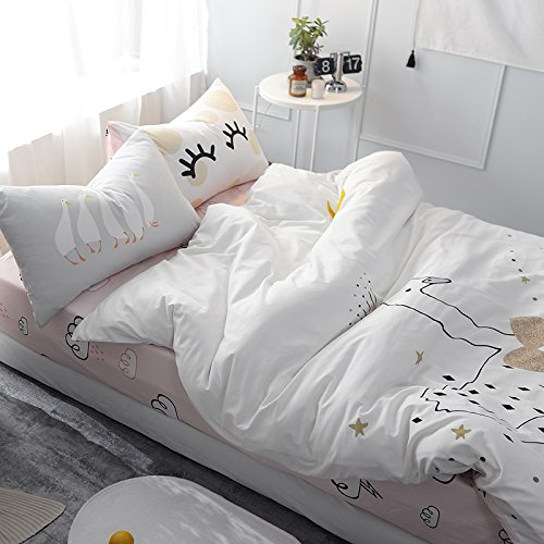 TheFit Paisley Textile Bedding for Boys and Girls W245 Cute Duck Duvet Cover Set 100% Cotton, Twin Set, 3 Pieces
