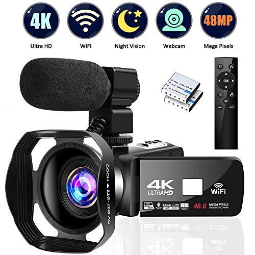 4K Video Camera Ultra HD Camcorder 48.0MP IR Night Vision