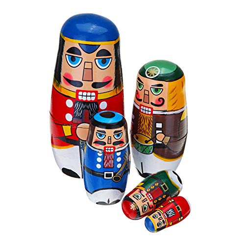 Coppthinktu 5Pcs Russian Nesting Dolls - Wooden Matryoshka Authentic Russian Stacking Dolls, Hand Painted Babushka Dolls for Kids Toys Birthday Christmas New Year Wishing Gift (Russian -