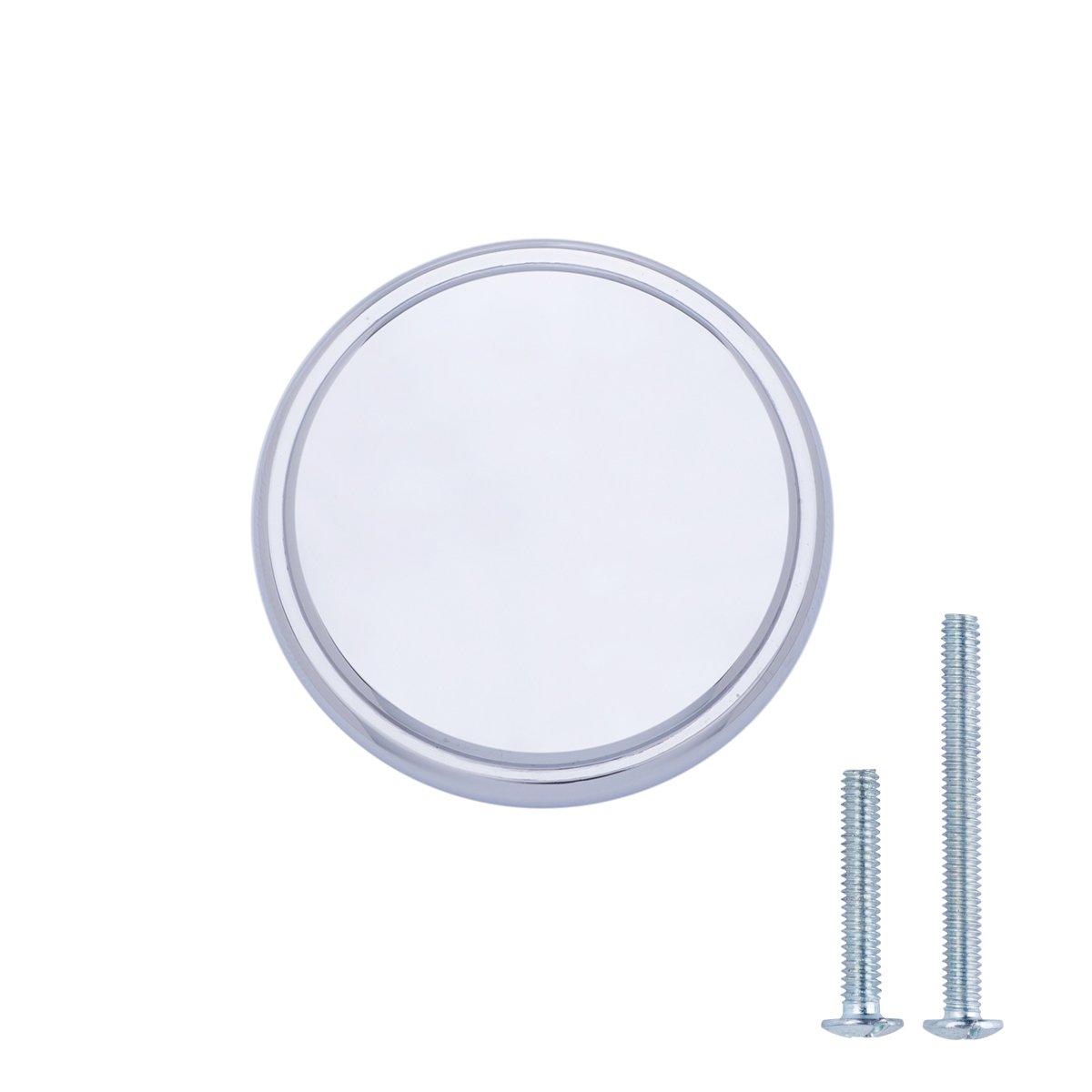 AmazonBasics Modern Wide Top Ring Cabinet Knob, 1.52'' Diameter, Polished Chrome, 10-Pack