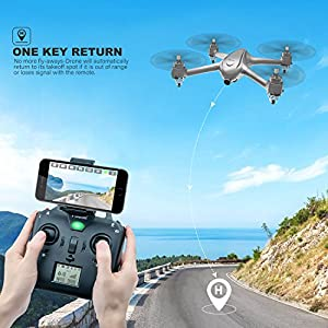 Potensic GPS FPV RC Drone D80 with 1080P Camera Live Video and GPS Return Home, Strong Brushless Motors, 25 mph High Speed 5.0GHz Wi-Fi Gyro Quadcopter with Compact Suitcase by Potensic