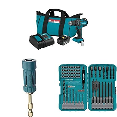 Makita Lithium-Ion Compact Brushless Cordless 1/2-Inch Driver Drill Kit (3.0Ah), B-35097 Impact GOLD Ultra-Magnetic Torsion Insert Bit Holder, & T-01725 Contract-Grade Bit Set, 70-Pc.