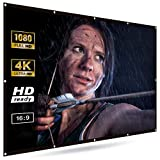 Haiko Labs 120 inch Projector Screen 16:9 HD Widescreen - Easy to Setup Portable Outdoor Indoor Home Theater - Foldable and Lightweight Anti-Crease Movies Screen - Double Sided Projection - No Tripod