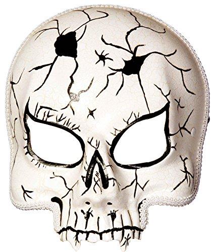 Adult Scary Grim Reaper Cracked Skull Chinless Costume Half Vinyl Mask