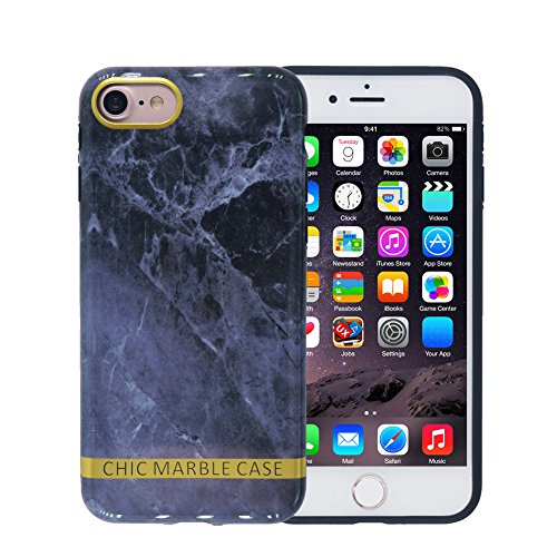 iPhone 8 Case, Marble iPhone 7 Case, FACEVER Flexible Silicone Shock-proof Ultra Thin Slim Case Cover For Apple iPhone 8 7 4.7 inch, Grey