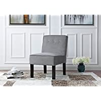 Modern Sleek Tufted Linen Fabric Accent Living Room Chair (Grey)