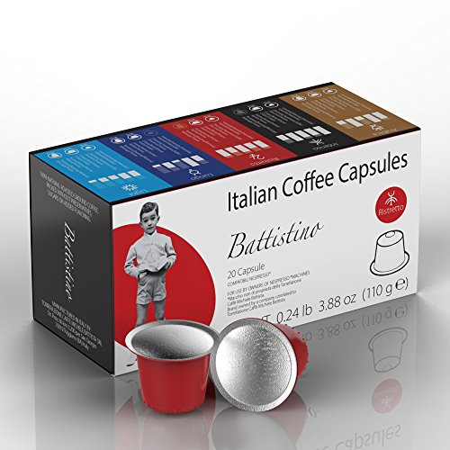 Nespresso Compatible Coffee Capsules – 100 Pack – Single Serve Pods for Original Line – Ristretto Blend(High Intensity)- By Battistino