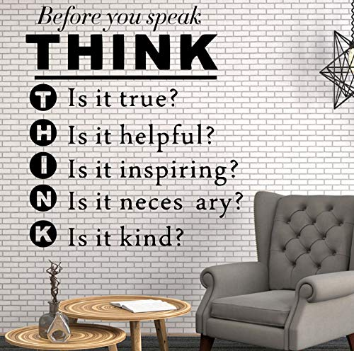 Dalxsh Think Quotes Wall Stickers Home Furnishing Decoration Classroom Nursery Kids Room Bedroom Decor Decal Mural 45x50cm