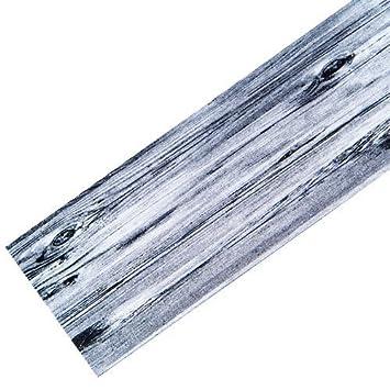 Teppich-Läufer Waschbar rutschfest | Design Holz Modern Grau ...