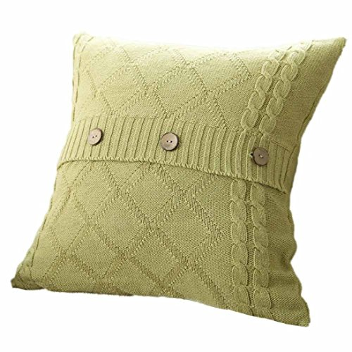 Shell Knitting Pattern (Kimloog Knitting Patterns Square Warm Throw Pillow Cover Double-Cable Decorative Cushion Case With Coconut Shell Buttons (Mint Green))
