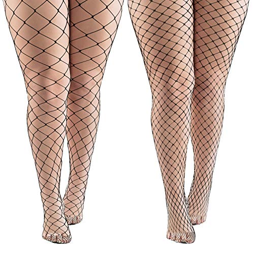 Aneco 4 Pairs Black Fishnets Tights Sexy Fishnet Pantyhose Stockings Fishnet Cross Mesh Stockings for Women