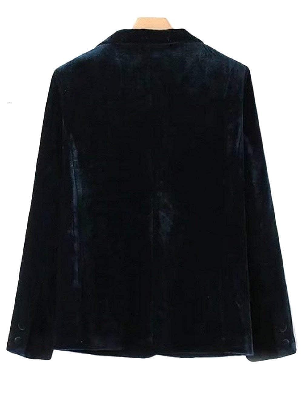 Giacca da Tailleur Donna Primaverile Autunno Monocromo Morbidi Comodo Giubbino Moda Velluto Blazer Classiche Slim Fit Manica Lunga Bavero Ufficio Business Cappotto Outerwear Ragazzi