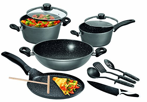 Stoneline  Germany  Aluminium Cookware Set, 8 Piece  Black