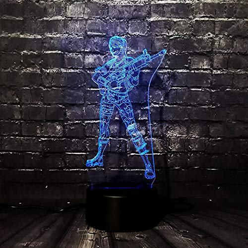 LAOFF 2019 Cool Game Figure Female Shooter Night Light 7 Color Acrylic USB Charge Illusion RGB Room Decor Table Lava Friends Fun Gift
