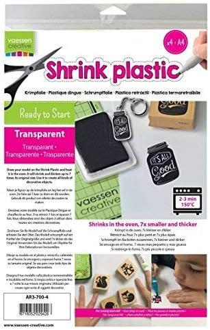 Vaessen Creative Plástico mágico, Transparente, 4 Hojas, Tamaño 21 x 30 cm, Divertidos Proyectos de Arte y Manualidades para Todas Las Edades