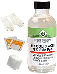 75% Glycolic Acid Peel - 4 oz REFILL- Fine Lines, Wrinkles, Age Spots, Acne Scars, Stimulates Collagen & Elastin Production