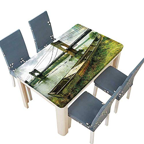 PINAFORE Indoor/Outdoor Polyester Tablecloth Bridge and Old Boat