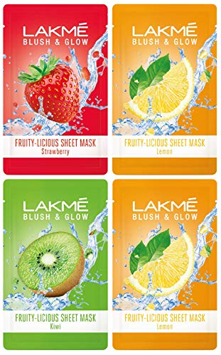 Lakmé Blush & Glow Kiwi Sheet Mask, 20 ml & Lakmé Blush & Glow Strawberry Sheet Mask, 20 ml & Lakmé Blush & Glow Lemon… 2021 July Product 1: 100% real fruit extracts Product 1: Gives a glow that feels like just out of a fruit facial Product 2: 100% real fruit extracts