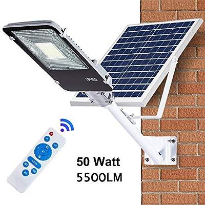 Solar Street Lights Outdoor Lamp, IP65 Waterproof Solar Powered Pole Light, Dusk to Dawn Sensor Lamp with Remote Control, Light Control for Street, Garden, Yard, Gutter, Pathway