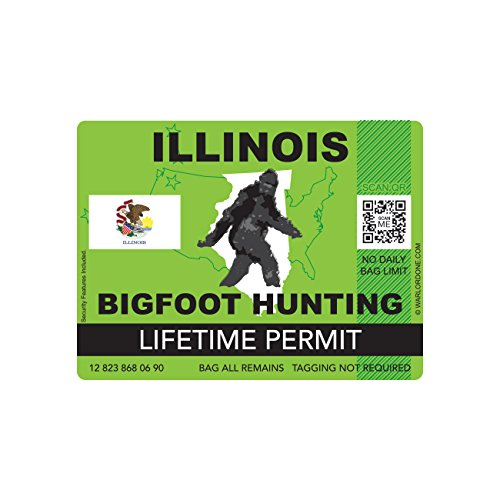 Illinois Bigfoot Hunting Permit Sticker Die Cut Decal Sasquatch Lifetime FA Vinyl