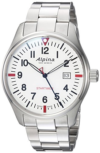 Alpina Men's Startimer Swiss-Quartz Watch with Stainless-Steel Strap, Silver, 9 (Model: AL-240S4S6B) ()