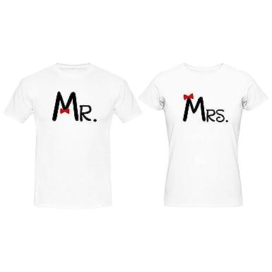 8b779849a YaYa cafe Couple Gifts Bow Mr Mrs Couple T-Shirts for Husband Wife Men Women