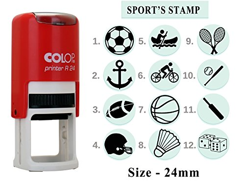Sport's Symbols Print Rubber Stamp Colop R 24 Office Self Inking Stationary - Express 011 Black