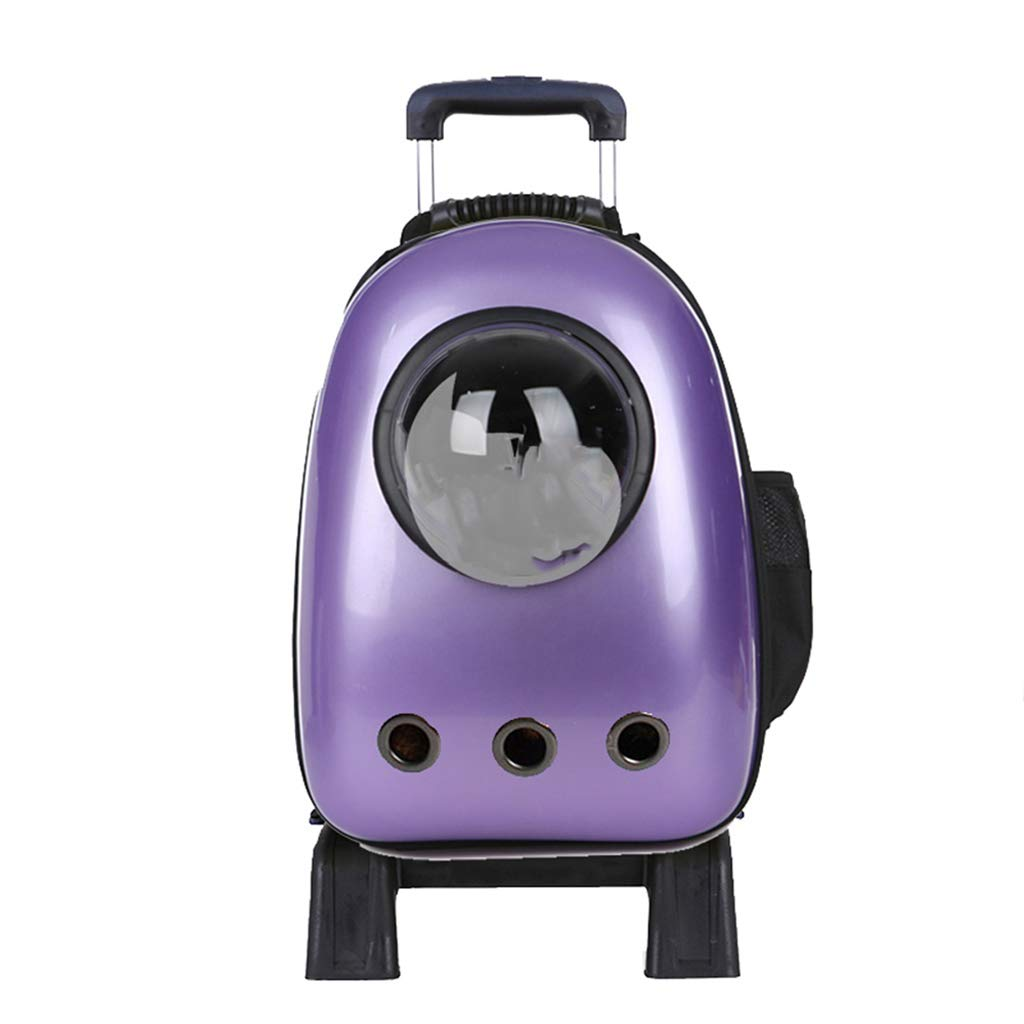 PURPLE Pet Backpack Trolley Carrier Case Astronaut Bubble Breathable Luxury Travel Pet Bag Strollers (Pets up to 12 Pounds) (color   PINK)